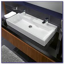 undermount trough bathroom sink with two faucets faucets