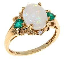 14k gold australian opal emerald and diamond ring