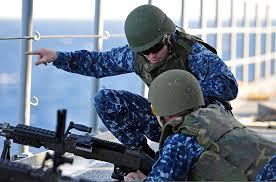 File U S Navy Gunners Mate 1st Class Alvin Johnson Left And