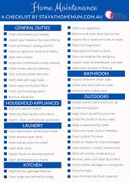 Yearly House Maintenance Home Maintenance Checklist Stay At Home Mum