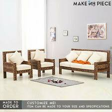 made to order antique indian br work solid wood 3 piece sofa set loveseat
