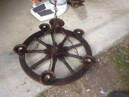 vintage western primitive 5 light wagon wheel chandelier ceiling fixture 24
