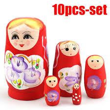 10 smile girls matryoshka russian nesting dolls babushka toys traditional wooden for