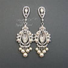 vintage chandelier earrings wedding chandelier bridal earrings rhinestone pearl wedding by xinxinemin