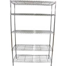 home interior storage with chrome steel wire freestanding shelving unit 5 tier chrome storage tower