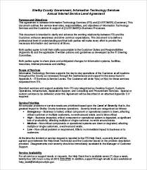 Service Level Agreement Template Stunning Service Level Agreement Template 48 Free Word PDF Documents