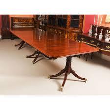 antique george iii regency flame mahogany triple pillar dining table 19th c