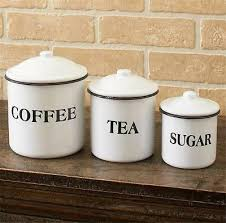 3 pc country inspired enamelware kitchen countertop canister set home decor