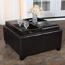 ... Coffee Table, Astonishing Square Modern Leather Black Ottoman Coffee  Table Idea To Improve Your Small ...