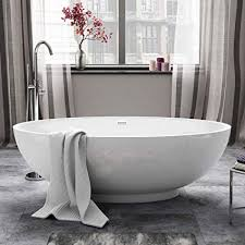Image Bath 1700 1685 Mm Modern White Oval Bathtub Designer Freestanding Bath With Waste Amazon Uk 1685 Mm Modern White Oval Bathtub Designer Freestanding Bath With
