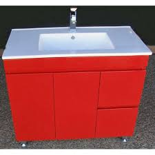paris fwpl900r red 900mm bathroom vanity with dulux red color and caremic basin