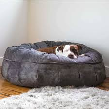 luxury dog bed furniture. Animals Matter Faux Suede Leather Puff Luxury Dog Bed Charcoal Furniture