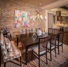 rustic dining room art. Designs Ideas : Rustic Modern Dining Room With Table Set Also Brick Wall Colorful Art Raise And Shine! Decorate Your Home Interior N