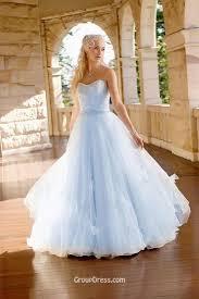 strapless beaded sky blue colored full a line modest wedding dress