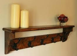 coat rack hooks furniture rustic wood wall hung coat hanger with shelf and black coat hooks