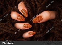 Oranžové Třpytily Nehty Stock Fotografie Gyurma 173294846