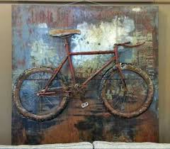 on cycling metal wall art with bicycle metal three dimensional wall art