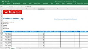 Purchase Order Log Template Excel Purchase Order Template Word ...