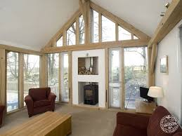 Living Room Extension Living Room Interior With Exposed Timber Frame And Glazed Gable