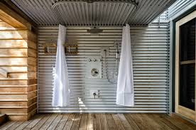 outdoor shower deck industrial outdoor shower deck idea in toronto with a roof extension