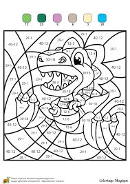 Coloriage Magique Soustractions Un Mini Dinosaure T Rex