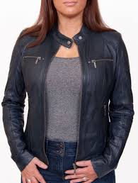 womens leather biker jacket jasmine indigo blue unzipped
