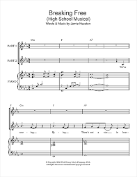 musical sheet breaking free from high school musical 2 part choir sheet music