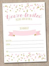 instant girls invitation pink gold printable party invitation with polka dot confetti fill in