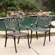 Amazoncom Calandra Cast Aluminum Outdoor Dining Chairs Set of
