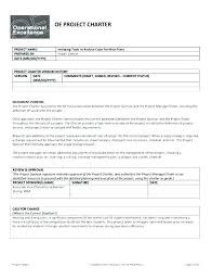 Project Management Project Charter Template