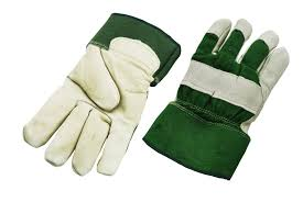 full palm fleece lined leather gloves green back