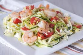 shrimp and zucchini noodle salad