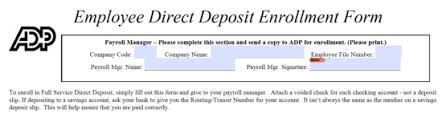 How To Fill Out Direct Deposit Form Free Adp Direct Deposit Authorization Form Pdf Eforms Free
