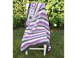 rug chunky granny hand crochet granny stripe square wool blanket throw
