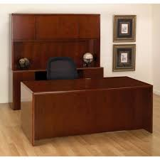 Executive Office Desk Suite In Dark Cherry Wood For Stylish Residence Dark Wood  Desk Designs