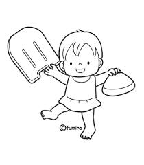 ビート板をもった水着の女の子ぬりえ 子供と動物のイラスト屋さん