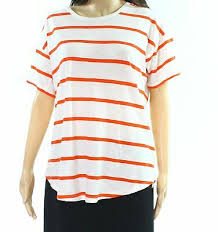 Madewell New White Red Womens Size Large L Striped Crewneck