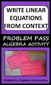 this is a great algebra activity to write linear equations in slope intercept form and