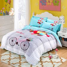 100 polyester rainbow bedding set cartoon bicycle blue modern balloon twin full queen size stripe bed duvet cover sheet summer