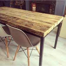 reclaimed industrial chic 6 8 seater solid wood and metal dining table bar and