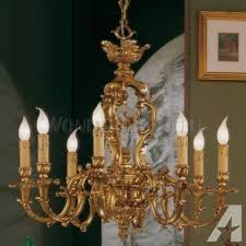 italian solid bronze 24kt gold plated chandelier by