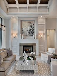 fireplace living room. transitional formal and enclosed living room idea in miami with gray walls a standard fireplace e
