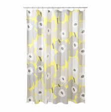 marimekko unikko grey yellow cotton shower curtain