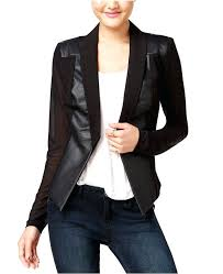 juniors faux leather jacket material girl juniors faux leather sleeve blazer only at