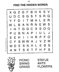 Small Picture Printable Word Search Puzzles