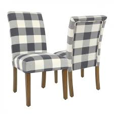 parsons dining chair blue plaid set of 2
