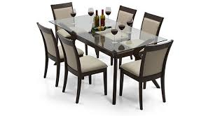 Glass top dining tables Wood Wesley Dalla Seater Dining Table Set Urban Ladder Wesley Seater Glass Top Dining Table Urban Ladder