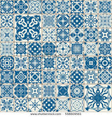 tile pattern. Seamless Tile Pattern. Colorful Lisbon, Mediterranean Floral Ornament Square Flower Blue Mosaic Pattern H