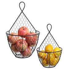 Amazon.com: (Set of 2) Wall Mounted Brown Country Rustic Style Chicken Wire Metal  Baskets / Hanging Display Holders: Home & Kitchen