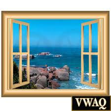 home l and stick wall decals 3d window frames ocean scene 3d window frame family wall art vinyl decal rocky beach wall decal window frame l and